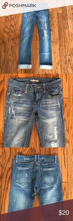 2.1 Denim straight leg skinny destroyed jeans 27 These are awesome!!  I have numerous pairs of designer jeans and these rank right up there with all of them. The distressing on these jeans is perfection. This is just a hip casual cool everyday look. Inseam unrolled is 31 inches. Forever 21 Jeans Straight Leg