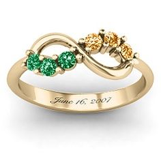 Split Infinity Ring...Colombian emeralds? With November birth stone