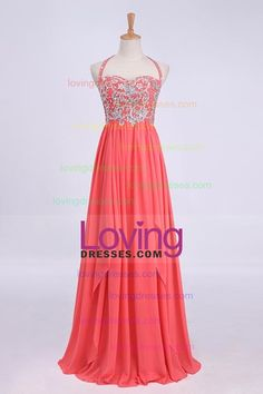 Hot Selling Prom Dresses Halter A-Line Floor Length Chiffon Color Watermelon Only Cheap