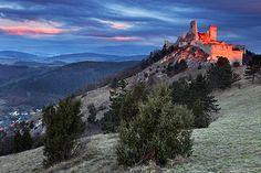 Slovakia, castle outside of Bratislava during sunset
