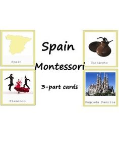 Montessori printables. These cards will help your child to explore and know more about Spain! They can be used during Europe study. This is 3-part cards that include Spain map, capital, landmarks and other! The color coding corresponds to Montessori Europe map. Material consists of:  -10 name and picture cards -10 picture cards -10 name cards Teacher Games, Teacher Tools, Teacher Resources, Teaching Ideas, Picture Cards, 10 Picture, Geography Activities, Montessori Preschool, Teacher Notebook
