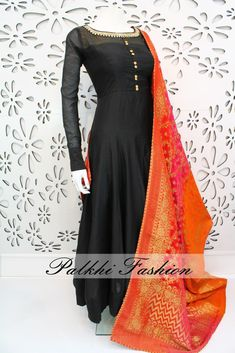PalkhiFashion Exclusive Full Flair Black Soft Silk Outfit With Pure Georgette Duppata Dress Indian Style, Indian Dresses, Indian Outfits, Indian Designer Outfits, Designer Dresses, Anarkali Dress, Saree Gown, Anarkali Suits, India Fashion