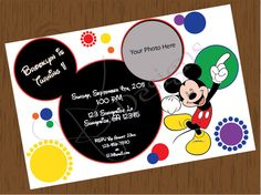 Custom Mickey Mouse First Birthday Invitation and/or Thank You Card. $12.00, via Etsy.