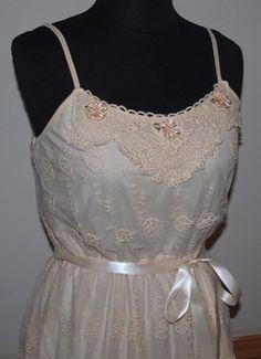 Ivory Lace Camisole Dress with Cream Cotton Lace Embellishment | TheGypsyCottage - Clothing on ArtFire