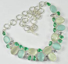 "MONA LISA, PERIDOT GEMSTONE .925 SILVER JEWELRY NECKLACE SIZE 18"" APPROX  #Handmade #Necklace"