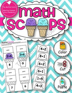 Math Scoops!  from TheMoffattGirls on TeachersNotebook.com (25 pages)  - Math Scoops are a fun way to practice addition and subtraction up to 20!  Kids get to color, cut and paste 168 different ice-cream scoops!