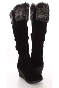 Make a fashion statement with these sexy wedge boots! They will look super hot paired with your favorite skinnies or dress. Make sure you add these to your closet, it definitely is a must have! The features include a faux suede upper with a slouchy design, faux fur trim, stitched detailing and apron front design, side zipper closure, round closed toe, smooth lining, and cushioned footbed. Approximately 2 3/4 inch wedge heels, 15 1/2 inch circumference, and 16 inch shaft.