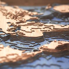 3D Laser Cut Topographic Map of the World