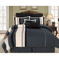 @Overstock - Set includes: Comforter, two shams, two Euro shams, bedskirt and two decorative pillows  Style: Stripe  Fabric detail: Printedhttp://www.overstock.com/Bedding-Bath/Aberdeen-Grey-7-piece-Queen-size-Comforter-Set/6026965/product.html?CID=214117 $67.99