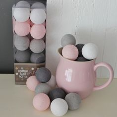 Cotton Ball Lights Pastel Roze/Grijs