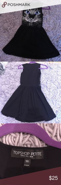 Topshop Cat Face Skater Dress Super cute dress from topshop. The fanciful graphic adds feline fancy to a soft jersey skater dress. Worn once, this item is in great condition. The petite just means the dress is flatteringly short, this dress is perfect for both day time and night time wear. Topshop Dresses Midi