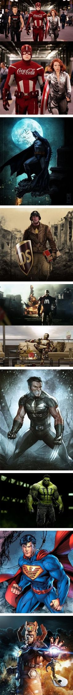 If Superheroes Had Sponsors - Awesome - Iron Man,Superheroes,Captain America,Batman,Superman,The Wolverine