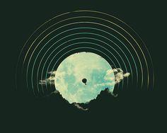 Soundtrack to a Peaceful Night Art Print by Jay Fleck - X-Small Vinyl Record Art, Vinyl Music, Vinyl Art, Vinyl Records, Soundtrack, Walpapers Hd, Vynil, Logo Design, Graphic Design