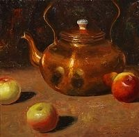 "Apples & Copper Teapot by Matthew J Cutter Oil ~ 12"" x 12"""