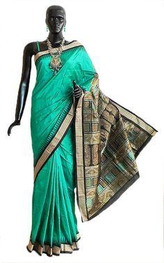 Dark+Emerald+Green+Bomkai+Orissa+Silk+Saree+with+All-Over+Boota+with+Border+and+Gorgeous+Pallu+(Silk)