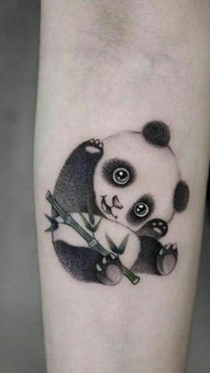 Some panda tattoos for women are usually delicate, fun and tender, these characteristics are what determine to be used by girls. Mini Tattoos, Body Art Tattoos, New Tattoos, Small Tattoos, Tatoos, Unique Tattoos, Beautiful Tattoos, Niedlicher Panda, Cute Panda