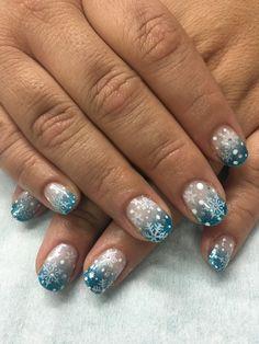 Winter Snowflake Ombré Gradient Stamped Snowflakes Gel Nails