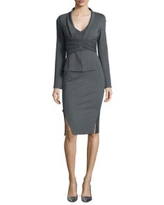 Draped Crisscross Knit Jacket & Double-Slit Structured Jersey Pencil Skirt by Donna Karan at Neiman Marcus.