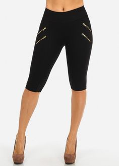 Black Mid Rise Stretchy Capris
