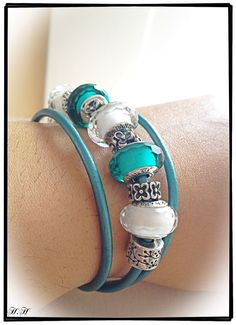 Pandora New Triple leather bracelet in teal with silver clasp. White and Teal Faceted Muranos #MyPandora