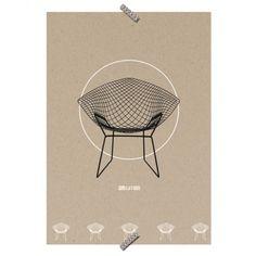 """Poster Cadeira """"Bertoia"""" - Coleção Mercatto Casa e Apto 41"""