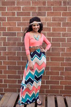 Bad Habit Boutique - 3/4 Sleeve Chevron Maxi Dress, $62.00 (http://www.shopbhb.com/3-4-sleeve-chevron-maxi-dress/)