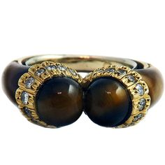 French Tiger's Eye Diamond Yellow Gold Ring | From a unique collection of vintage more rings at https://www.1stdibs.com/jewelry/rings/more-rings/