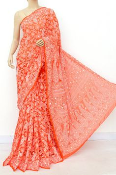 Orange Allover Hand Embroidered Lucknowi Chikankari Saree (With Blouse - Georgette) 14985 Indian Silk Sarees, Tussar Silk Saree, Georgette Sarees, Cotton Saree, Embroidery Suits Punjabi, Kota Sarees, Orange Saree, Saree Shopping, Fancy Sarees