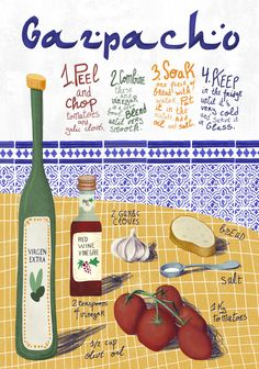 Gazpacho recipe for kids Gazpacho Recipe, Very Cold, Food Illustrations, Kids Meals, Red Wine, Cactus, Recipes, Inspiration, Hipster Stuff