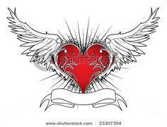 Hearts :: stock-vector-valentine-illustration-of-an-abstract-heart-with-wings-ray-and-scroll-23307394.jpg picture by RAZORBLADE_16 - Photobucket