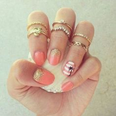 awesome tropical nail art and love the rings
