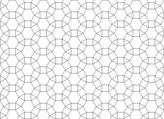 Shapes that tessellate - hexagons, squares and triangles grid