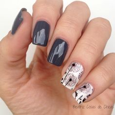 Black and white dandelion medium length square shaped nails Acrylic Gel Nails - Summer Fall Nail Designs - Cute Fingernail Art Ideas Square Nail Designs, Black Nail Designs, Fall Nail Designs, Cute Nail Designs, Acrylic Nail Designs, Acrylic Gel, Dark Nails, Red Nails, White Nails