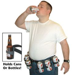For Dads who love beer and hate getting up to get a refill.  This fashionable belt holds bottle OR cans | Happy Father's Day! #survivallife www.survivallife.com