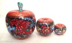 Winter Russian Troika Hand Carved Painted UNIQUE APPLE Nesting Doll Set