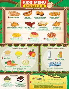 Kids Menu - Rainforest Cafe - A Wild Place to Shop and Eat! Menu Pdf, Food Menu Template, Menu Templates, Templates Free, Lunch Menu, Dinner Menu, Dinosaur Chicken Nuggets, Healthy Kids, Healthy Eating