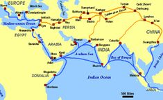 Map of Trade Routes of Silk Road