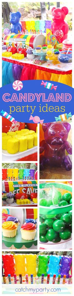 Take a trip to Candyland with this fantastic Birthday Party! Love the colorful candy dessert table!! See more party ideas and share yours at CatchMyParty.com