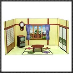 1950s Japanese Living Room Papercraft Set Free Template Download - http://www.papercraftsquare.com/1950s-japanese-living-room-papercraft-set-free-template-download.html
