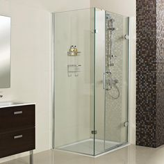 Decem Hinged Door with Two Inline Panels and Side Panel for Corner Fitting--- Create an impressive showering space with the addition of this product! --- Available from Roman Ltd - British Made Luxury Shower Enclosures and Bath Screens. Images Copyright www.roman-showers.com