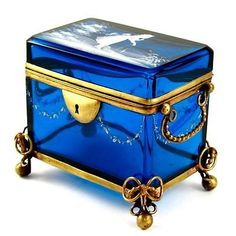 Antique Mary Gregory Blue Glass Hand Painted White Enamel Jewelry Box Casket   Antiques, Decorative Arts, Glass   eBay!