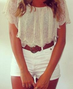 Shorts are a little short for me but I am ALL about this lace top!