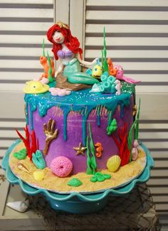 Little Mermaid inspired buttercream cake By The Sweet Alley