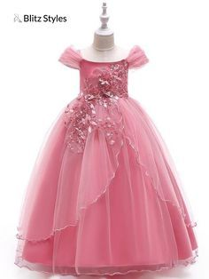 Dream Room Floral Flower Ruched Princess Dresses Toddler Girls Clothes for Casual Daily Party