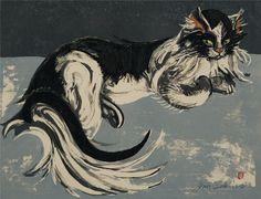 """Recumbent Cat"" by Sekino Jun-ichirô (Japanese, 1914 - Cat Allergies, Oriental Cat, Pretty Cats, Pretty Kitty, Japanese Cat, Vintage Cat, Cat Life, Art Techniques, Cool Cats"