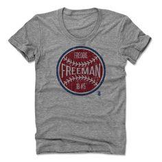 Freddie Freeman Ball R Atlanta Officially Licensed MLBPA Womens Scoop Neck T-Shirt S-XL