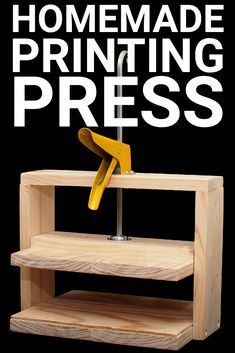 books papers and things Simple Homemade Printing Press Printing Press, Screen Printing, Bookbinding Tools, Bookbinding Tutorial, Handmade Books, Handmade Journals, Handmade Rugs, Handmade Crafts, Diy Papier