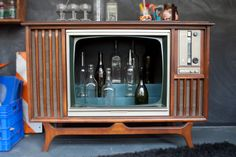 Yay!!! A vintage tv turned into a bar; that kicks ass! found on etsy, by whiskyginger