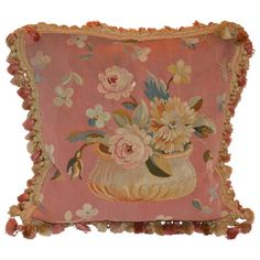 Peachy/Coral Aubusson Pillow