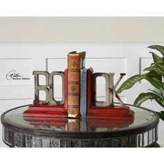 bookends - adore these also - bookends are really hard to buy!